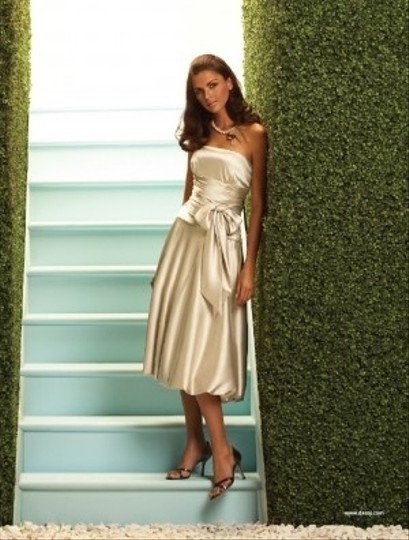 Dessy Champagne Satin 2057 Formal Bridesmaid/Mob Dress Size 14 (L)