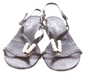 Chanel Leather Snakeskin Pearl Black Sandals