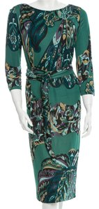 Emilio Pucci Blue Multicolor Print Abstract Longsleeve New Logo Monogram Belted M Medium 8 42 Dress