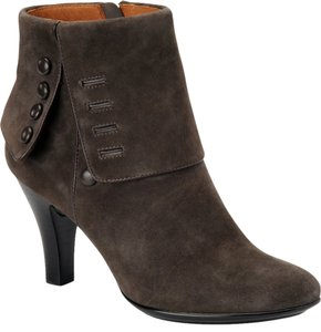 Söfft Suede Leather Lined Chic Victorian Inspired Dark Grey Boots
