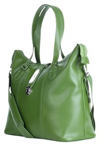 Joy Mangano Extra Large Organizer Pebbled Cross Body Yoga Tote in Green Leather