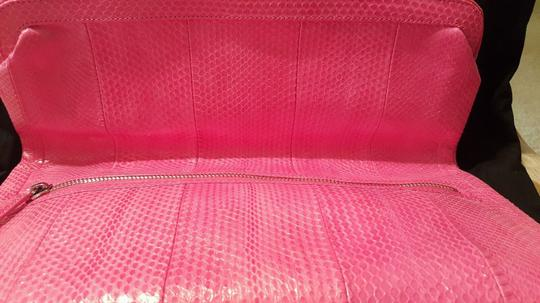 Monika Chiang Oversized Snakeskin Silver Hardware Soft Leather Pink Clutch