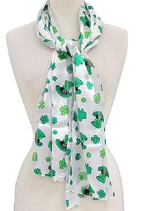 Other Clover Print St. Patricks Day Satin Scarf White Print