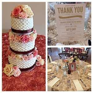 Dusty Rose (Blush) & Champagne Rosette Overlays (17) and Floor Length (4) Tablecloth