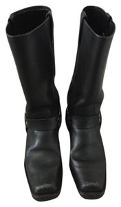 Frye Harness Midcalf Moto Leather Black Boots
