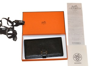 Herms Auth HERMES Veau Box Bearn Wallet Bi-fold Black Hardware Silver
