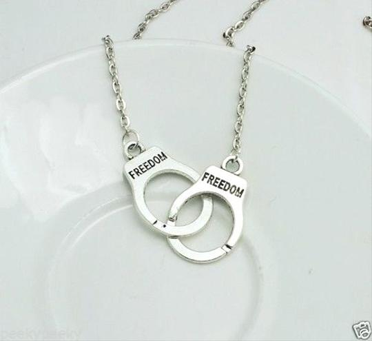 Other Silver Freedom Handcuff Charm Pendant Necklace
