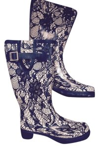 Black and Tan Lace Rain Boots Boots