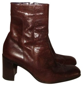 Donna Karan Retro Ankle Rounded Toe Brown Boots