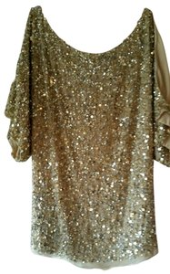 Aidan Mattox Sequin Sparkle Party Top Gold