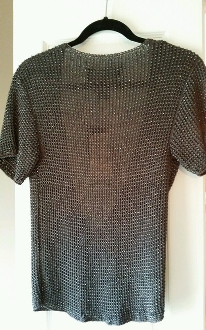 Vintage Carmen Marc Valvo Beaded Metallic Hardware Top Grey