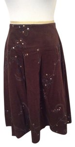 Tribal Embellished With Sequins And Turquoise Embroidery Skirt Brown
