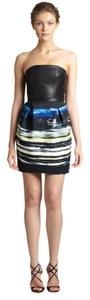 Sachin + Babi Mini Strapless Leather Fun Formal Party Colorful Black Dress