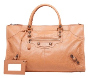Balenciaga Giant Work Leather Tote in Rose Blush
