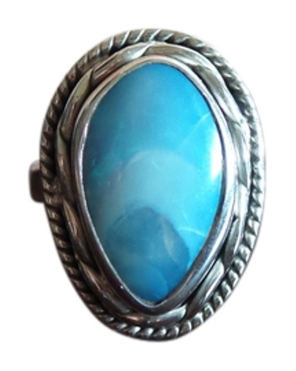 Other 925 Sterling Silver Blue Opal Sz 7.5