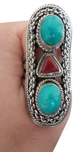 Other 925 Sterling Silver Turquoise Red Coral Rings Sz 8.5
