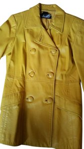 DKNY Belted Fitted Soft Leather Yellow Leather Jacket