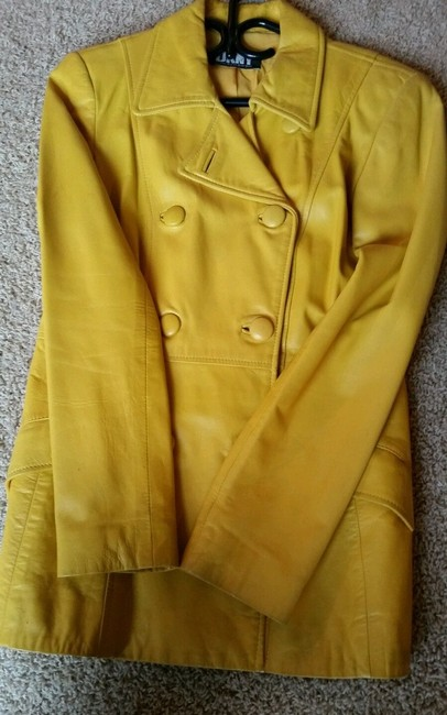 DKNY Belted Fitted Soft Vintage Yellow Leather Jacket