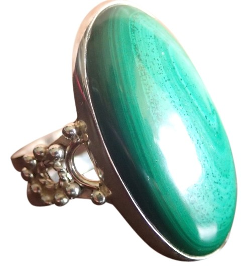 Other 925 Sterling Silver Malachite Ring Sz 8