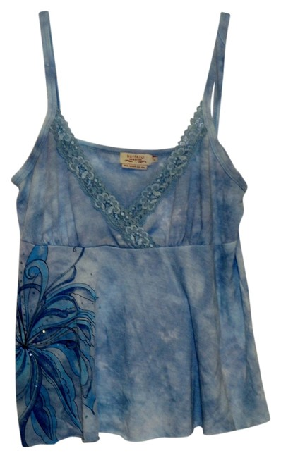 Buffalo David Bitton Floral Large Top Blue Tie Dye