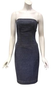 Theory short dress Blue Strapless Denim Sheath Bodycon on Tradesy