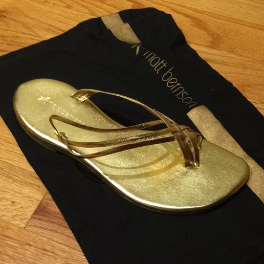 Matt Bernson Slip-on Leather Gold Sandals