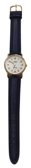 Preload https://img-static.tradesy.com/item/10377682/navy-collezio-women-s-leather-gold-faced-wrist-watch-0-1-540-540.jpg