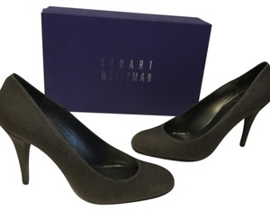 Stuart Weitzman Soft Fever Type Heels Dark gray nappa embossed all leather Pumps