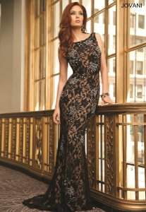 Jovani Black With Nude Lace 21789a Dress
