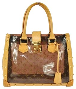 Louis Vuitton Leather Studded Monogram Tote in Brown/Multi-color
