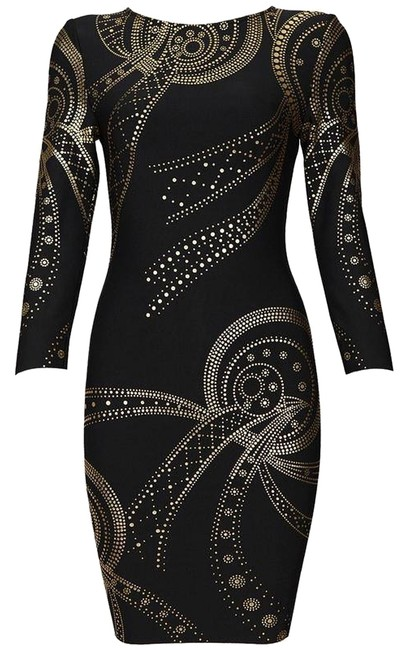 Preload https://img-static.tradesy.com/item/10378189/black-gold-bodycon-stretchy-material-hugs-the-curves-sexy-above-knee-short-casual-dress-size-2-xs-0-1-650-650.jpg