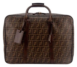Fendi Logo Luggage Travel Brown Travel Bag