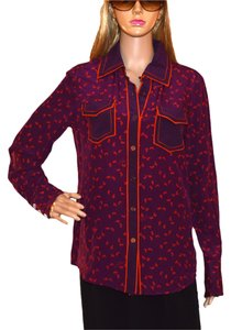 Tory Burch Button Down Shirt purple / orange