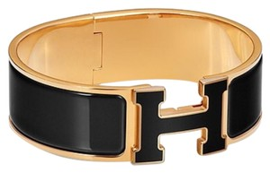 Hermès Limited Edition Clic Clac Black On Black W/ Rose Gold