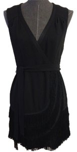 Nanette Lepore short dress Black Fringe Size 4 on Tradesy