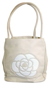 Chanel Lambskin Camillia Tote in Tan/White