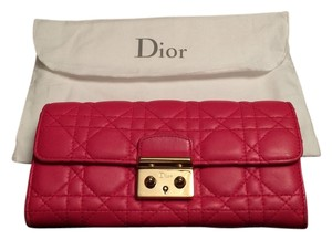 Dior Lady Dior Fuchsia Lambskin Quilted Wallet
