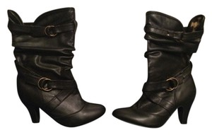 Wet Seal Mid Midcalf Leather black Boots