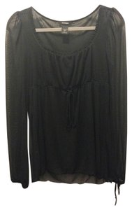 Express Feminine Sheer Longsleeve Top Black