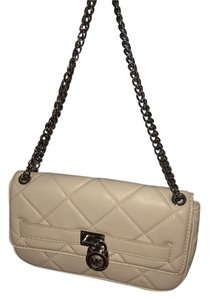 Michael Kors Quilted Leather Ivory Winter White Front Flap Shoulder Bag