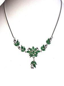 Natural Genuine Columbian Emerald 925 Sterling Silver 14k Necklace