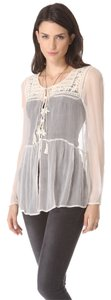 Free People Embroidered Peasant Bohemian Ivory Sheer Top Tea