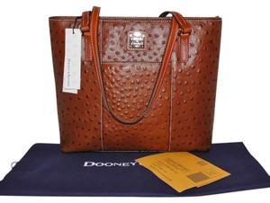 Dooney & Bourke Ostrich Lexington Small Shopper Leather Tote in Cognac