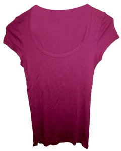 Splendid Scoop Back Fuscia Cotton T Shirt Magenta