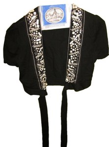 BCBGMAXAZRIA Beading Embroidered Tie-front Shrug Cap Sleeves Cardigan