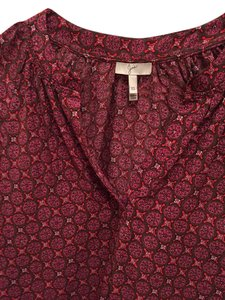 Joie Top Brown and pink- red boho print