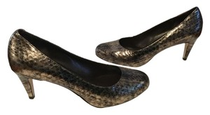 Cole Haan Almond Toe Reptile Pattern $17 OFF NEW Gold & Brown embossed all leather padded insoles NikeAir comfort Pumps