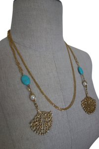 Other Gold and Turquoise Necklace with Pearls