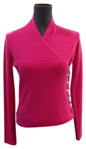 Armani Collezioni Wrap Cashmere Long Sleeves Berry Pink Size 38 V Neck Side Closure Jeweled Buttons Sweater