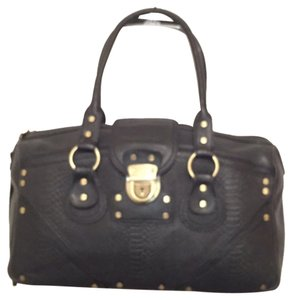 BCBGMAXAZRIA Leather Embossed Leather Snakeskin Satchel in Black